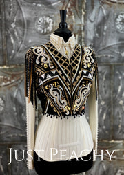 Gold, White and Black Bolero Vest and Day Shirt Set by Sonder Avenue ~ Ladies Small