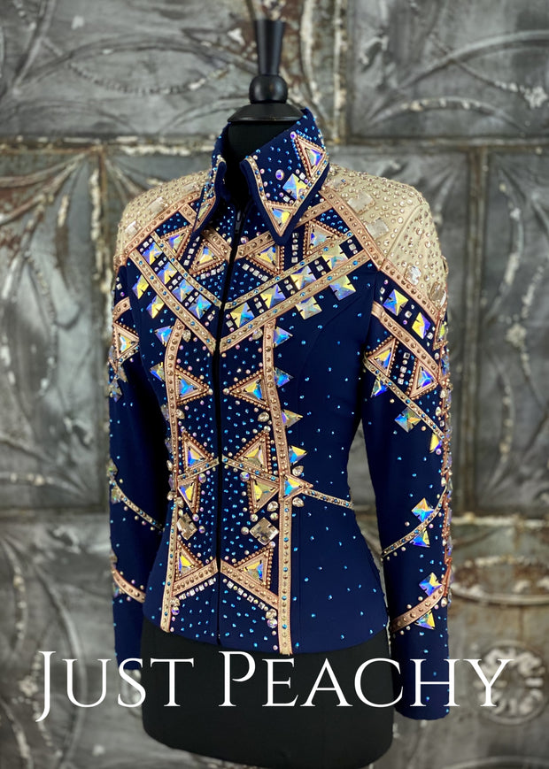 Rose Gold, Champagne and Navy Blue Showmanship Outfit by Brittz Glitz ~ Just Peachy Show Clothing