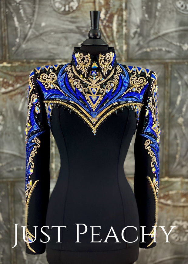 Champagne Royal Blue And Gold Horsemanship Shirt By Dardar8 Designs ~ Ladies Medium Western