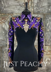 Copper, Purple and Black Horsemanship Shirt by DarDar8 Designs ~ Ladies Small