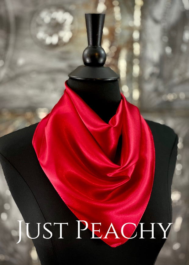 The Just Peachy Silky Solid Show Scarf ~ 23 Inch {Deep Red}