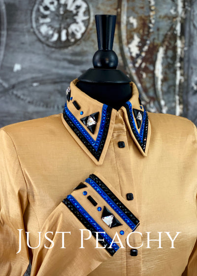 The Cosmopolitan Dress Shirt in Gold with Royal Blue and Black ~ Ladies Small