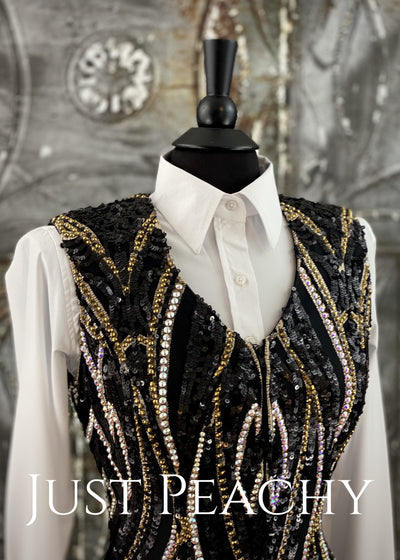 KLS Designs Western Horse Show Vest in Black and Gold ~ Just Peachy Show Clothing