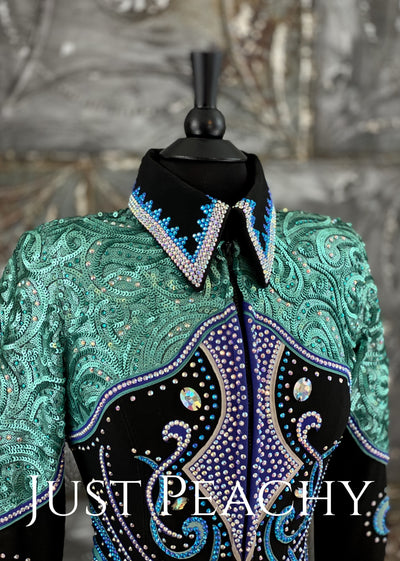 Green, Turquoise and Black Jacket by A Winning Investement ~ Just Peachy Show Clothing