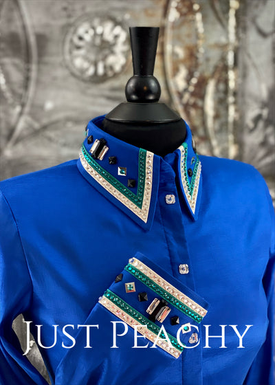 The Cosmopolitan Dress Shirt in Royal Blue with Teal and White ~ Ladies Medium