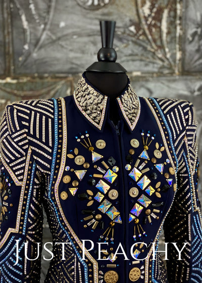 April Salisbury navy blue, pewter and gold jacket ~ Just Peachy Show Clothing