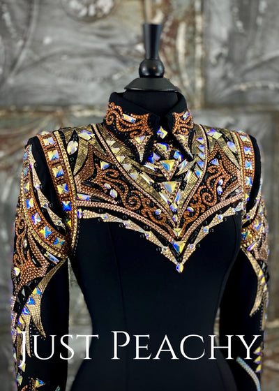 Gold, Copper and Black Horsemanship Shirt by Dardar8 Designs ~ Just Peachy Show Clothing