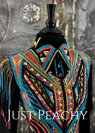 Coral, Gold, Turquoise and Black Vest and Day Shirt Set by DarDar8 Designs ~ Ladies XS