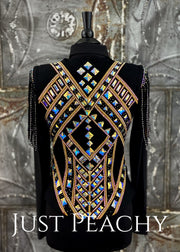 Gold And Black Vest With Fringe By Deb Moyer ~ Ladies Medium Western Horse Show
