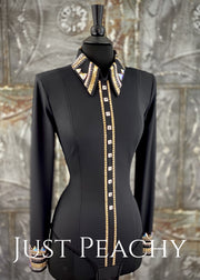 Gold Pewter And Black Bolero Vest Shirt Set By Stella ~ Ladies Xs Western Horse Show