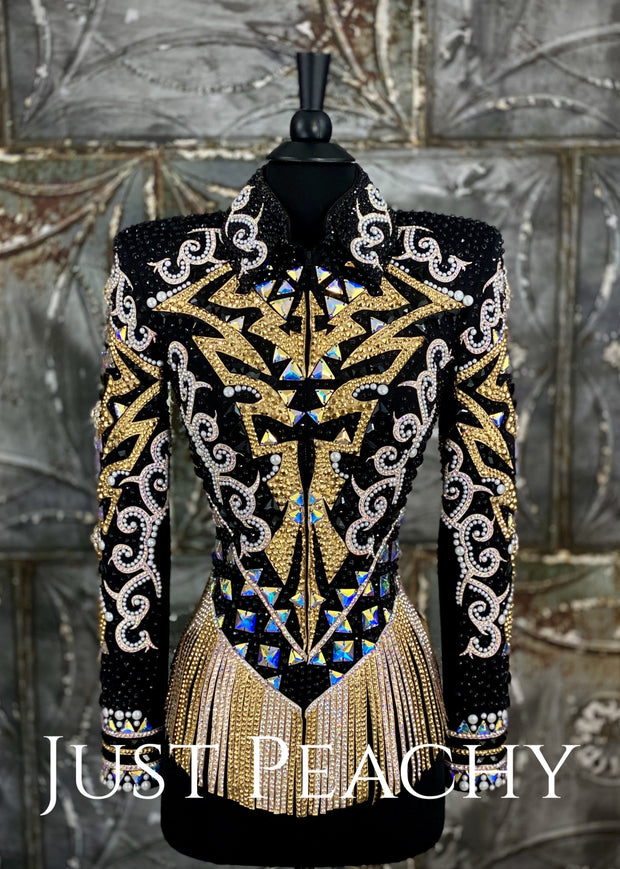 Gold, White and Black Riding Jacket with Fringe by Lindsey James ~ Just Peachy Show Clothing