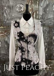 Black, White and Silver Vest by Deb Moyer ~ Ladies XS