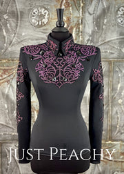 Amethyst and Black Horsemanship Shirt by Jackson Rae Designs ~ Ladies Small