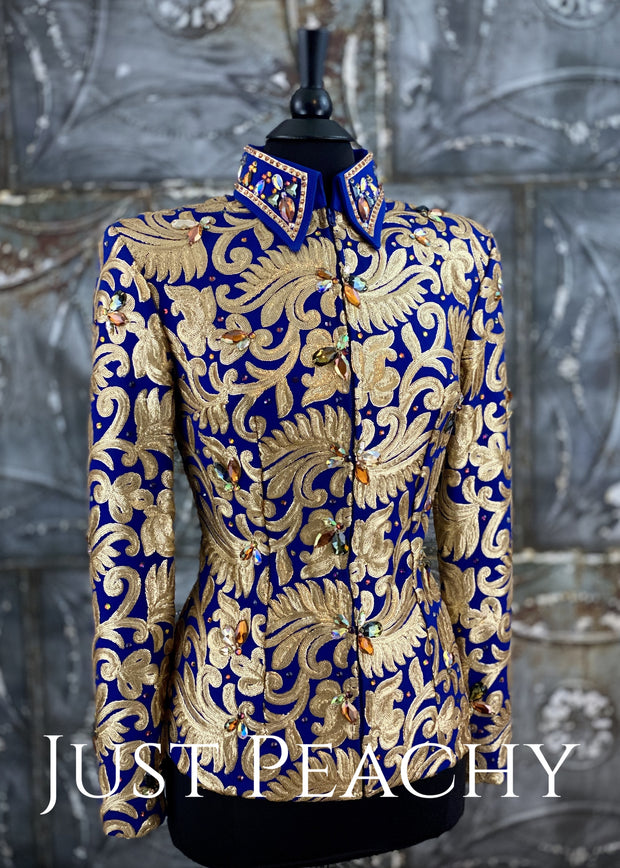 Matte Gold and Royal Blue Showmanship Outfit ~ Just Peachy Show Clothing