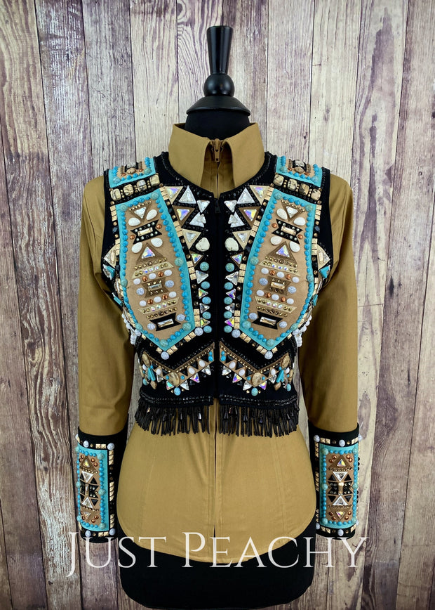 Turquoise Sand And Black Bolero Set By Dry Creek Designs ~ Ladies Small Western Horse Show Vest