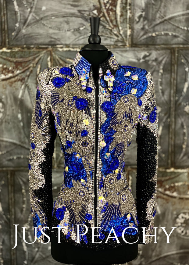 RRoyal Blue, Silver and Black Showmanship Jacket by Trudy Black Label ~ Just Peachy Show Clothing