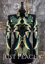 Lindsey James Showmanship Jacket in Black and Green ~ Just Peachy Show Clothing