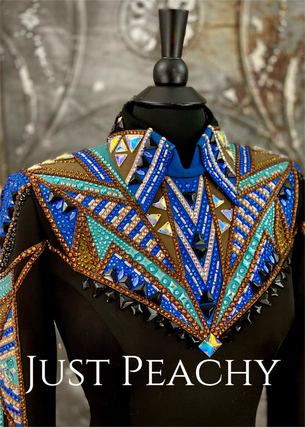 Chocolate, Blue, Turquoise and Black Horsemanship Shirt by Lindsey James ~ Ladies Small/Medium