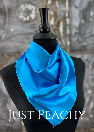 The Just Peachy Silky Solid Show Scarf ~ 23 Inch {Turquoise}
