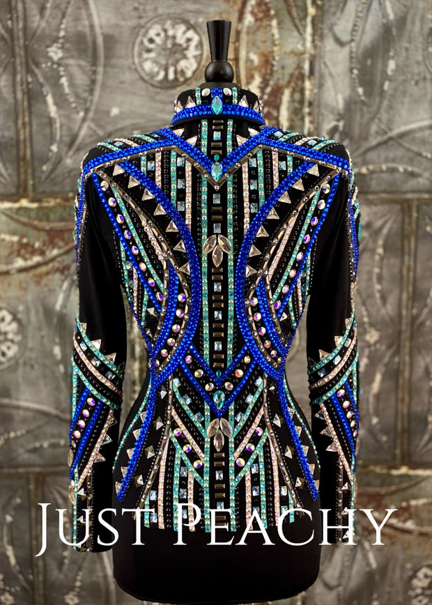 Royal Blue, Aqua and Pewter Showmanship Jacket by Ultimate Show Apparel ~ Ladies Small