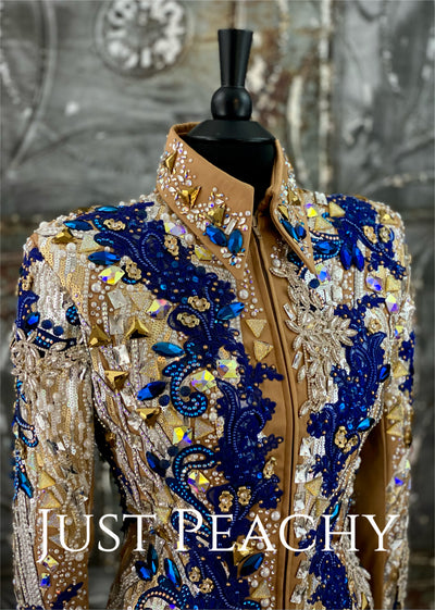 Gold, Royal Blue and Iridescent Pearl Showmanship Outfit by Jessica Lynn Show Apparel ~ Ladies Large