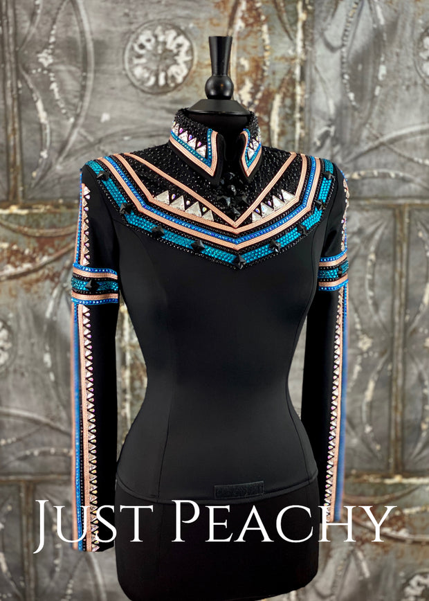 Rose Gold, Teal and Black Horsemanship Shirt by Jackson Rae Designs ~Ladies Small