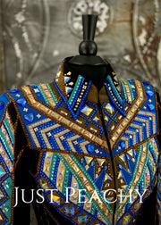 Chocolate, Blue, Turquoise and Black Showmanship/All Day Jacket by Lindsey James ~ Ladies Small/Medium