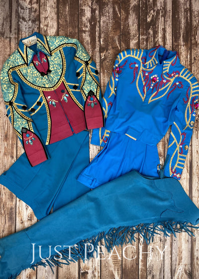Turquoise Fuchsia And Gold Small-Fry Ensemble By On Pattern Designs ~ Youth Medium/large Western
