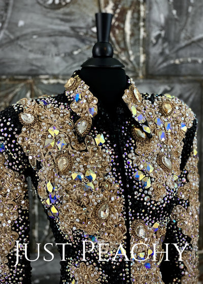 Black and Champagne Showmanship Jacket by Trudy/Juls Collection ~ Just Peachy Show Clothing