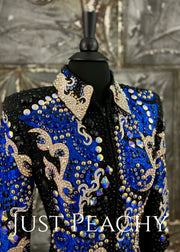Blue, Gold and Black Showmanship Jacket by Lindsey James ~ Just Peachy Show Clothing
