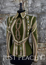 Sage Green and Gold Riding Outfit with Chaps by Dry Creek Designs ~ Just Peachy Show Clothing