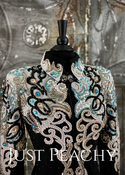 Turquoise Pearl Black And White Jacket By Showtime ~ Ladies Xs Western Horse Show