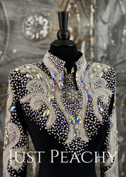Black, White and Crystal AB Horsemanship Shirt by Trudy/Juls Collection ~ Ladies XS