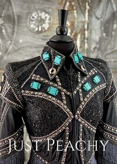 Edgy Turquoise and Black Riding Jacket - Just Peachy Show Clothing