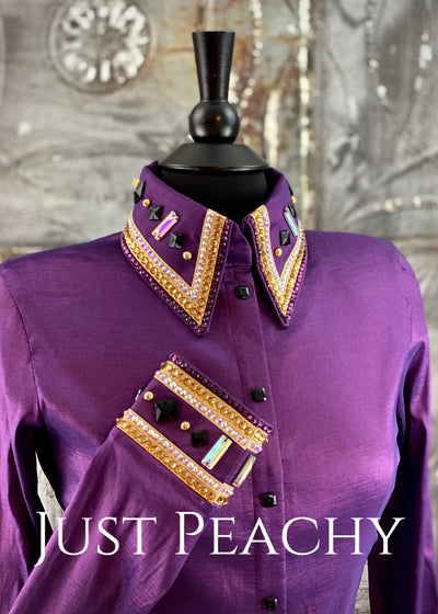The Cosmopolitan Dress Shirt in Aubergine with Gold ~ Ladies Medium