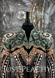 Green, Copper, White and Black Jacket by Lindsey James ~Ladies XS