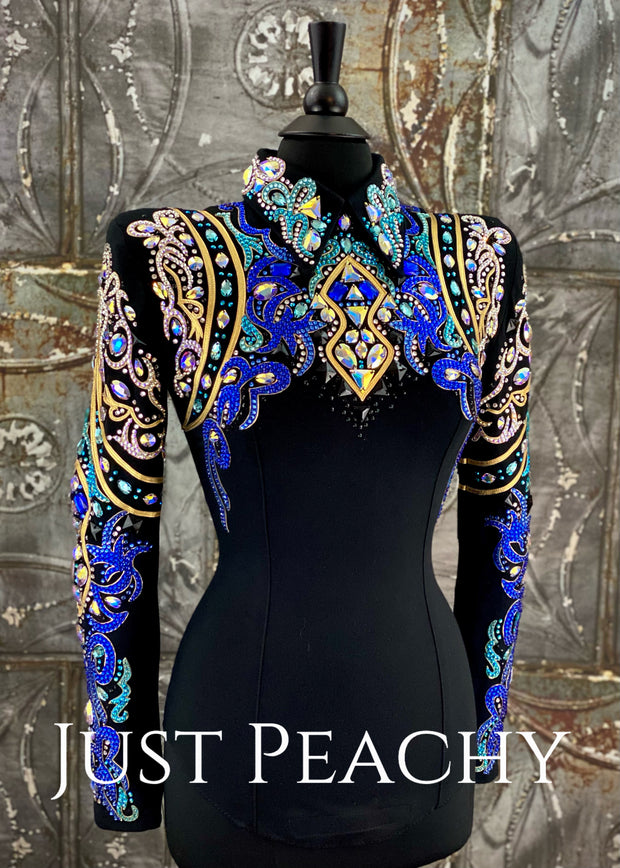 Royal Blue, Aqua, Gold and Black Horsemanship Shirt by DarDar8 Designs ~ Ladies XS