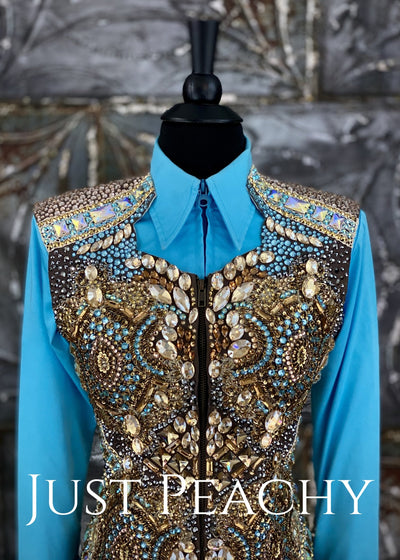 Chocolate, Champagne and Blue Horsemanship and Vest Outfit with Chaps ~ Ladies XS/Youth XL