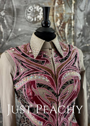 Slate Grey, Cranberry and Silver Vest Set with Chaps by Paula's Place ~ Ladies XS