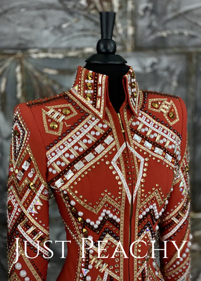 Burnt Orange, Chocolate and Gold Showmanship Outfit by Dry Creek Designs ~ Just Peachy Show Clothing