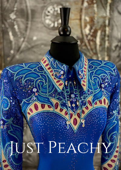 Royal Blue, Sand and Fuchsia Horsemanship and Vest Ensemble by Paula's Place ~ Ladies XS