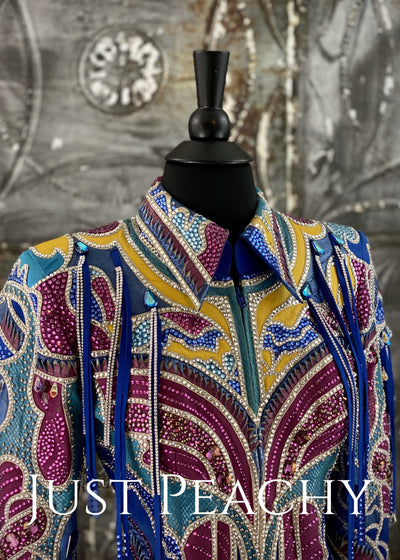 Royal Blue, Goldenrod and Fuchsia Riding Jacket by Paula's Place ~ Ladies XS