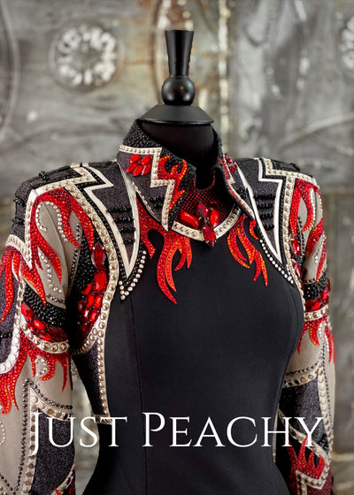 Black, Red and Pewter Horsemanship Shirt by On Pattern Designs ~ Ladies Small