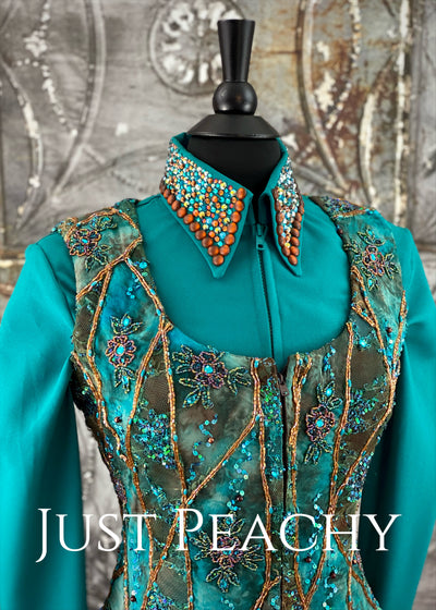 Teal and Chocolate Vest Set by Paintedj ~ Ladies Medium