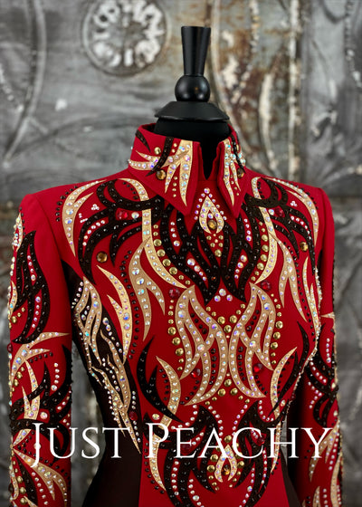 Dark Chocolate, Red and Gold Horsemanship Outfit with Chaps by Dry Creek Designs ~ Ladies Small
