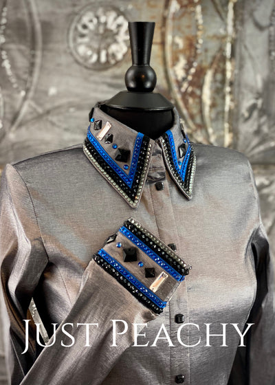 The Cosmopolitan Dress Shirt in Silver with Royal Blue and Black ~ Ladies Small