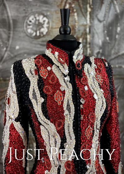 Red, White and Black Jacket by Trudy ~ Just Peachy Show Clothing