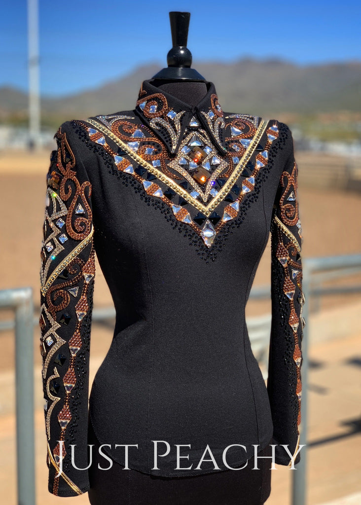Copper Gold And Black Horsemanship Shirt By Dardar8 Designs ~ Ladies Small/medium Western