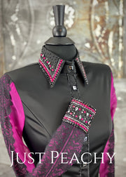 The La Merletto Day Shirt in Black and Fuchsia by Sonder Avenue ~ Ladies XS/Small