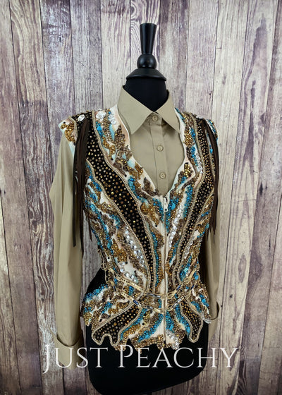Chocolate Teal And Gold Vest By Showtime ~ Ladies Medium Western Horse Show
